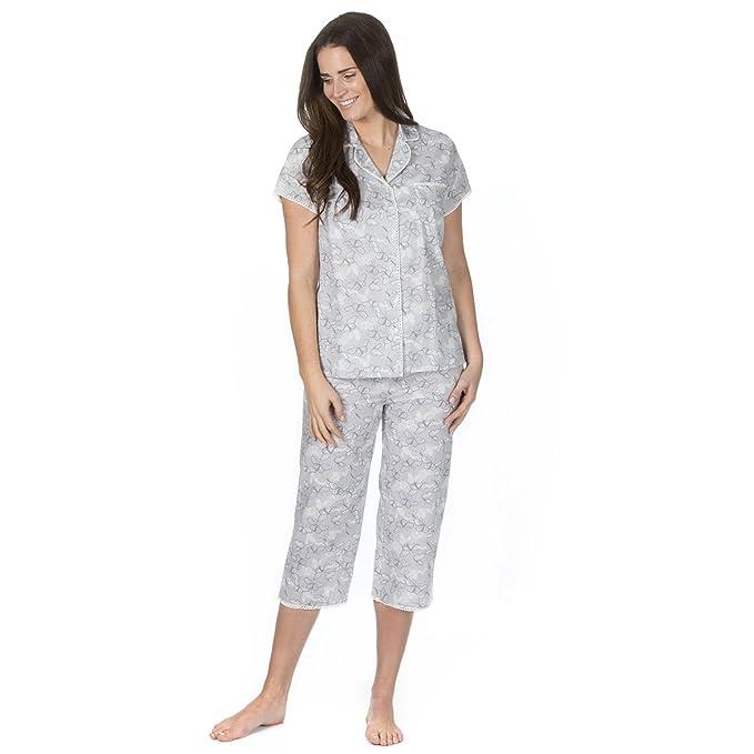 Ladies Womens Woven 100/% Cotton Pyjamas Pyjama Top and Bottoms Set