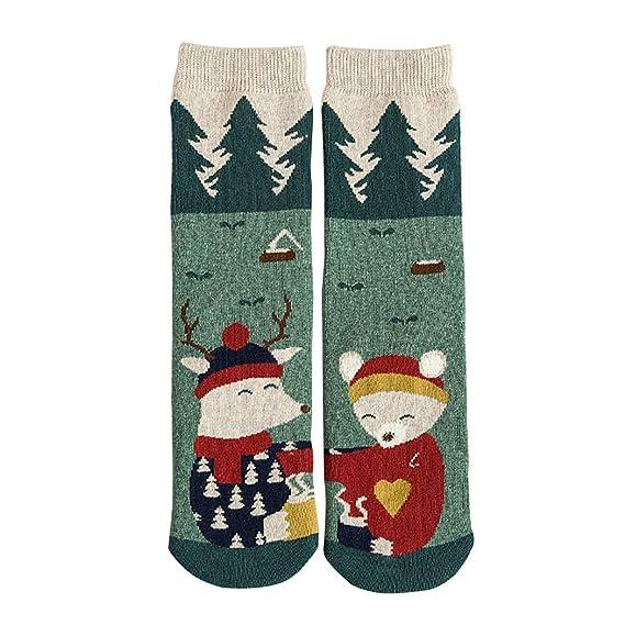 Zoylink Calcetines De Navidad Para Mujer Calcetines De Punto Calcetines De Algodón Cálido Grueso De Dibujos