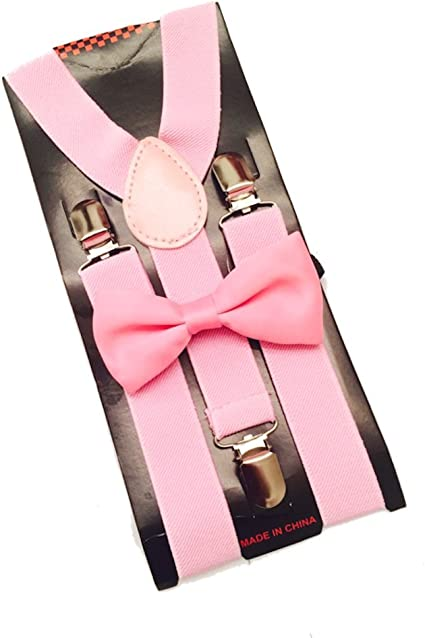 Blush Bow Tie KidsAdults Light Pink Bow Tie and Light Grey Suspenders Set Two Piece Set