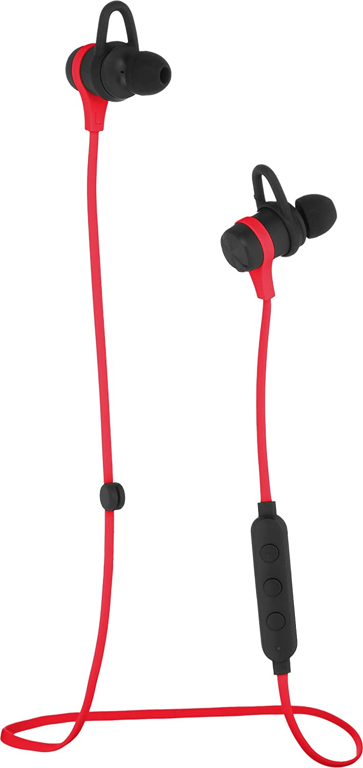 AmazonBasics Wireless Bluetooth Fitness Headphones Earbuds with Microphone, Red