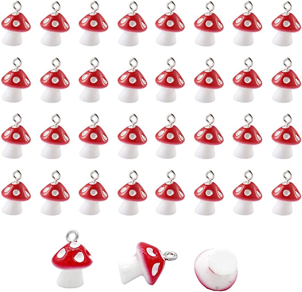 FAFAHOUSE 40PCS Mushroom Charms Pendant for Jewelry Making Necklace Bracelet Earring DIY Craft Jewelry Accessories