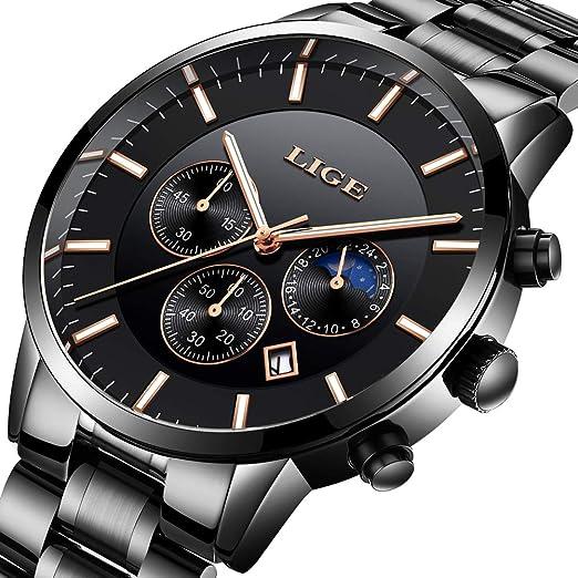 LIGE Relojes para Hombre Moda Impermeable Cronógrafo análogo Cuarzo Acero Inoxidable Correa Fecha Calendario Reloj Negro: Amazon.es: Relojes