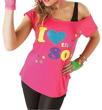 3a31b5ea FASHION FAIRIES I Love The 80s T Shirt Ladies Pop Star Retro Top Womens  Fancy Dress