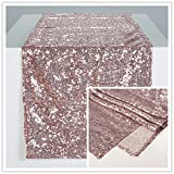 Zdada Rose Gold 12x70 Inch Christmas Sequin Table Runners-10 Package