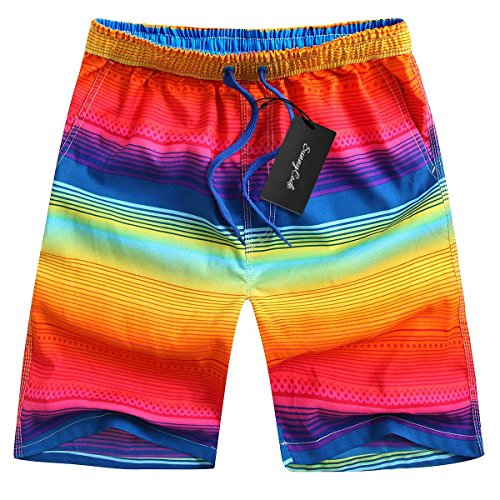 Men's Quick Dry Boardshorts Bathing Suits Swimming Trunks Tropical Island Beach Shorts, XXXL(36-38), Rainbow