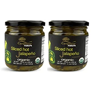 Pack of 2 Spanish SLICED ORGANIC HOT JALAPENO 12.34 oz | Just 3 Ingredients | Gluten Free, No Added Sugar, No Corn Syrup
