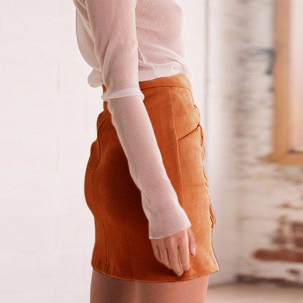 Amazon.com: Deatu - Mini falda para mujer, de gamuza, sin ...