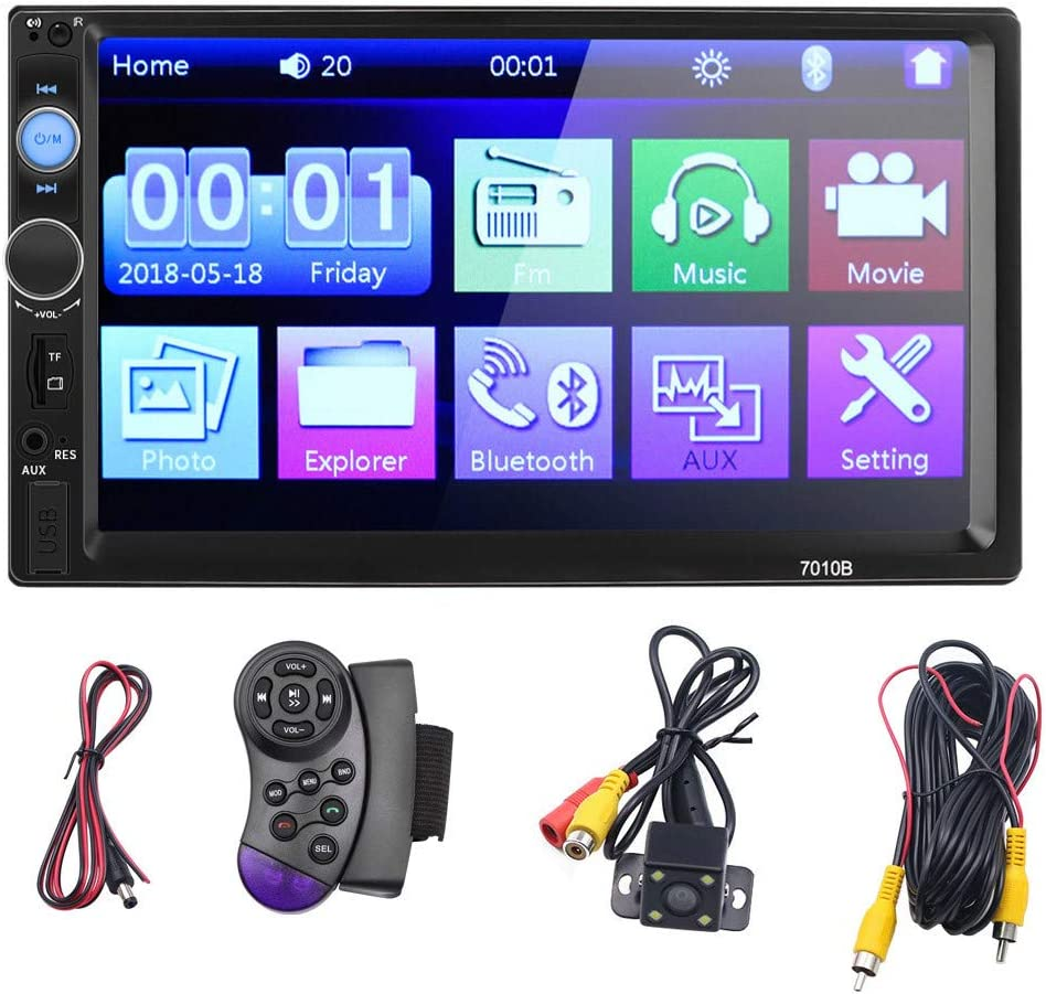 Double Din Touch Screen Car Stereo with Backup Rear View Camera,Unine Car 7 Inch MP5//4//3 Player,Remote Control,Steering Wheel Control,Mirror Link,Hands Free Bluetooth Calling,Audio FM Radio