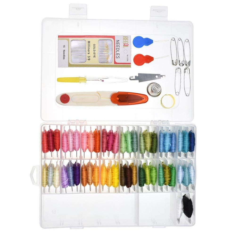 embroidery floss with organizer finder storage box 50 colors crafts number needles thread ripper full set cross stitch tool kit multi-colour cross-stitching sewing hand stitching punch threads seam Shantan®