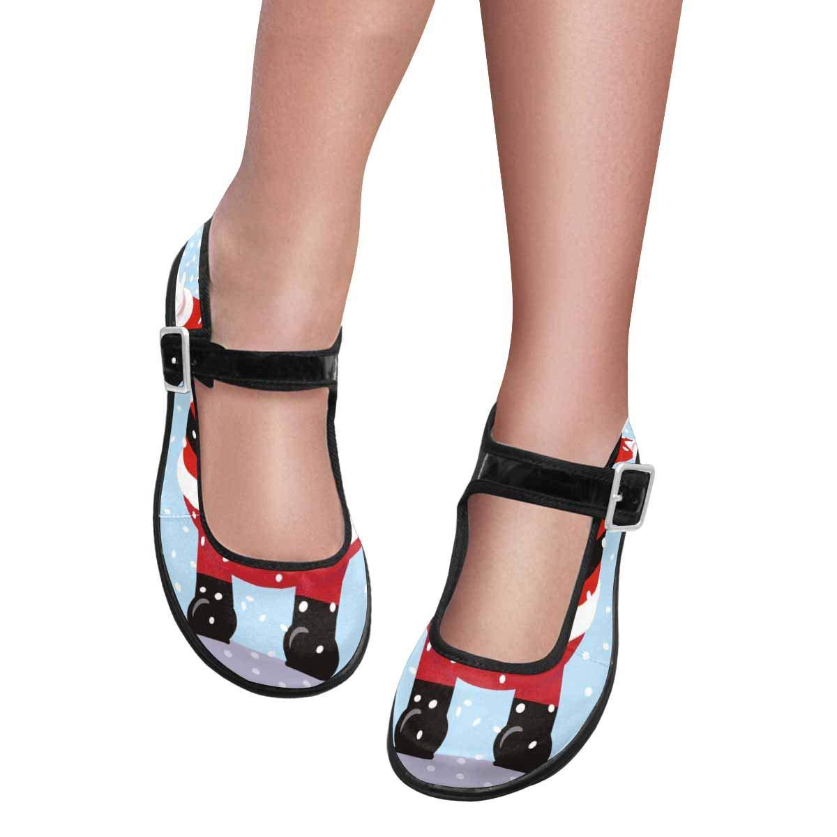 INTERESTPRINT Womens Satin Mary Jane Flats Ballet Shoes Santa Claus Welcoming Christmas