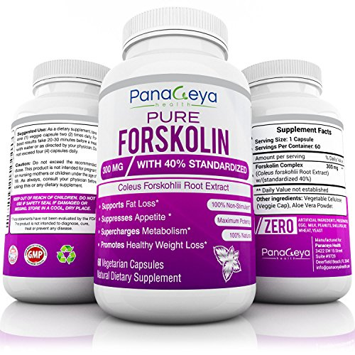 Pure Forskolin Extract 300mg with 40% Standardized High Strength Carb Blocker Natural Weight Loss Supplement Burns Belly Fat Powerful Appetite Suppressant & Fat Burner GMO Free 60 Veggie Pills