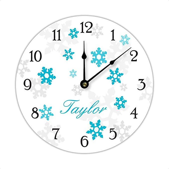 Amazon.com: Personalized Frozen Inspired Snowflake Wall Clock, Blue: Home & Kitchen