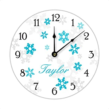 Personalized Frozen Inspired Snowflake Wall Clock, Blue