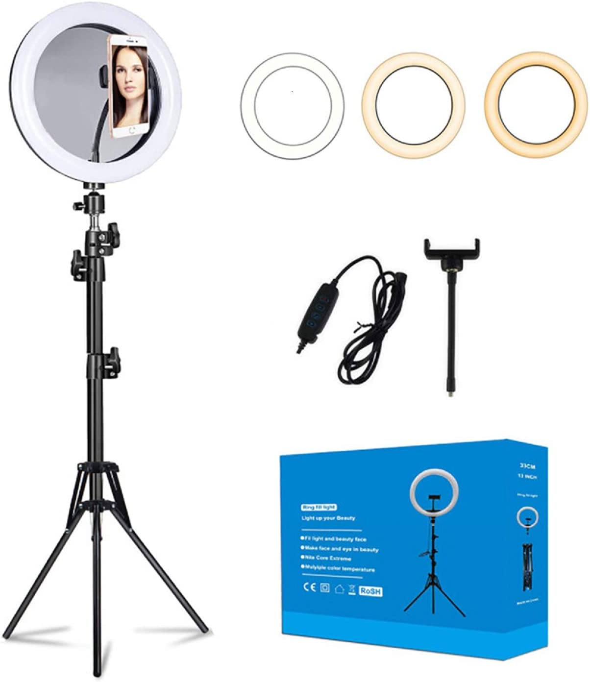 AW 13inch LED Ring Light RGB Dimmable Brightness with Tripod Stand Phone Holder Remote for Live Streaming Makeup YouTube Photography