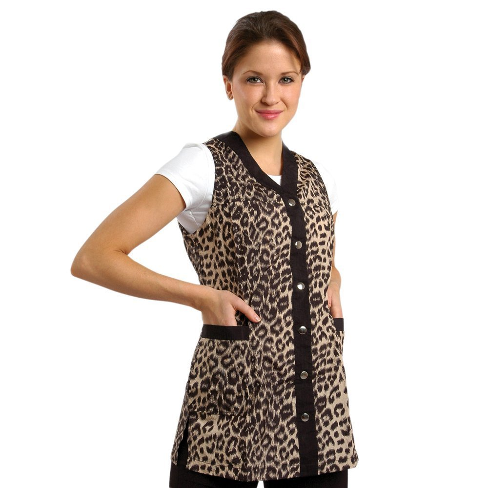 Sleeveless Leopard Salon Smock XXXL (16) by JMT Beauty