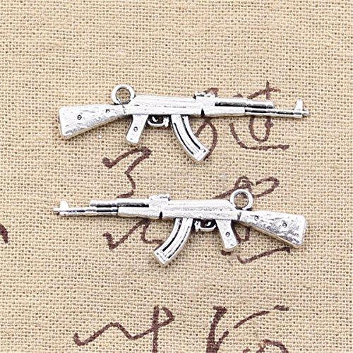 Machine Guns Assault (10pcs Charms Machine Gun Assault Rifle ak-47 44x15mm Antique Making Vintage Tibetan Silver Zinc Alloy Pendant)
