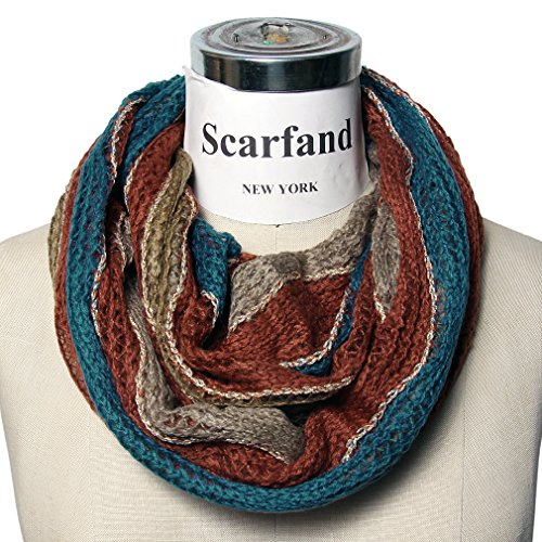 Scarfand's Winter Infinity ScarfVarious Colors and styles Available (Wavy Multi-color Pumpkin)