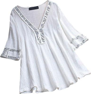 Blusa Tipo túnica de algodón Suelta y Suave con Cuello Alto y ...