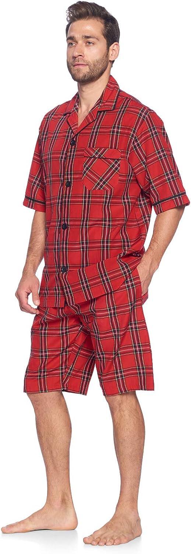 Woven Plaid Sleepwear /& Loungewear Button Down PJ Boxer Set Ashford /& Brooks Men/'s Short Sleeve Pajamas Shorts Set