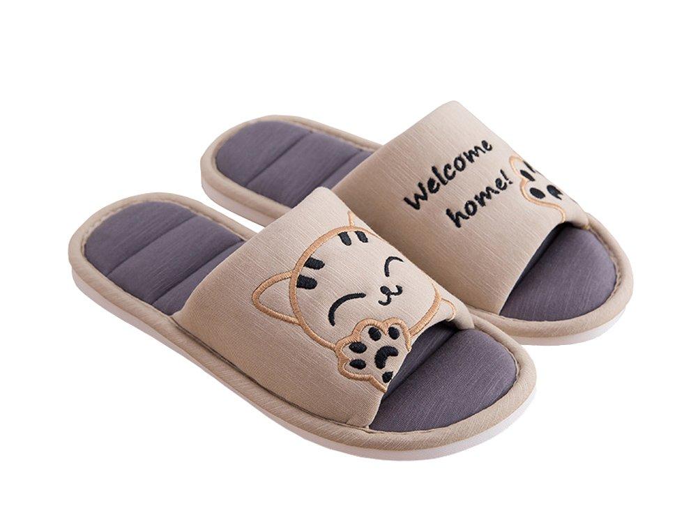 Cliont B0768HM7G9 Femmes Pantoufles Mignon sur Chat Doux Intérieur Pantoufles Bout Ouvert Coton Slip sur Accueil Chaussures Maison Pantoufles Marron d695574 - boatplans.space