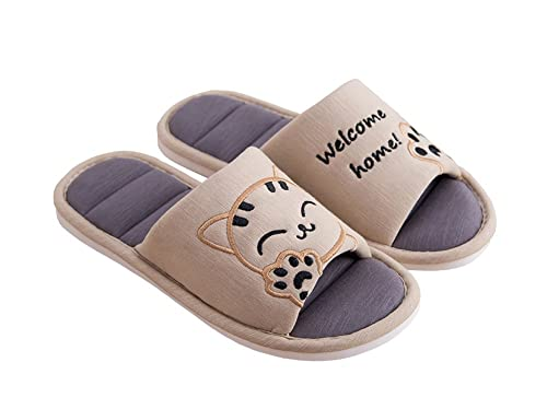 aa441d627fc3c Cliont Women's Cute Cat Soft Indoor Slippers Open Toe Cotton Slip on Home  Shoes House Slippers