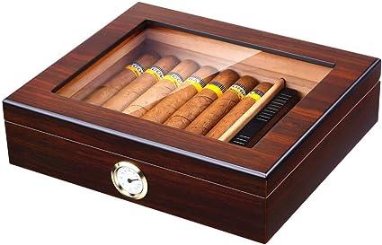 Desktop Cigar Humidor Humidifier Up to 20 Cigars Walnut