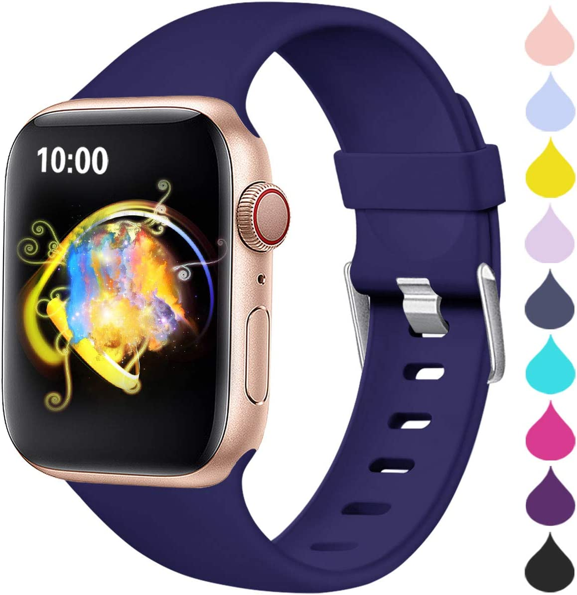 Haveda Sport Compatible for Apple Watch Band Series 6 Series 5 4 40mm, iWatch Bands 38mm Womens for Apple Watch SE, iwatch Series 3 2 1 Men, Waterproof Band for Apple Watch 5, Navy 38mm/40mm S/M