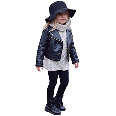 ea1350e3e Tronet Kids Infant Toddler Baby Girls Autumn Coats Leather Jacket Outerwear  Warm Thick Clothes Outfits (
