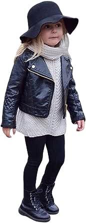 Mousmile Toddler Baby Girls Shiny Rivet Leather Jacket Lapel Zipper Motorcycle Coat Metal Bomber Winter Warm Outwear