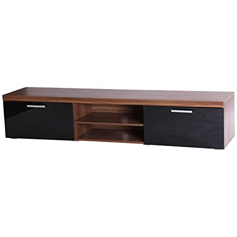 factory price de9be 66c49 Homcom 2 Meter Long Modern TV Cabinet Low Bench Stand Unit 2 High Gloss  Doors Shelves (Black & Walnut)