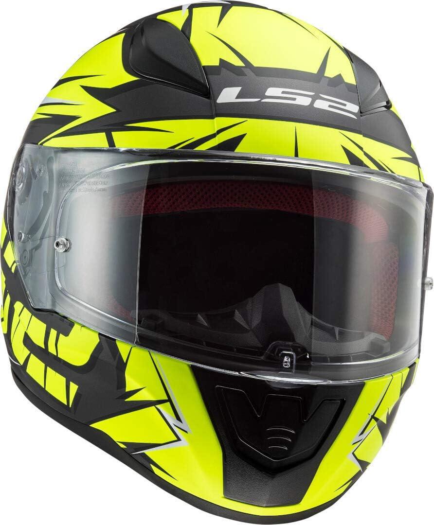 Casco integral de moto cromado LS2 Rapid color negro mate y amarillo