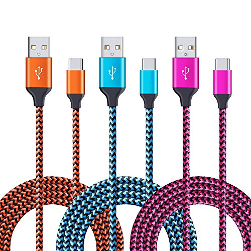 USB Type C 6ft, CIQILY 3-Pack 6FT Long Braided Fast Type C Charger Cord for Samsung Galaxy S8 Plus Note 8, LG G6 G5 V20 V30, Google Pixel XL, ChromeBook Pixel, Nexus 5X 6P, Nintendo Switch, Lumia 950