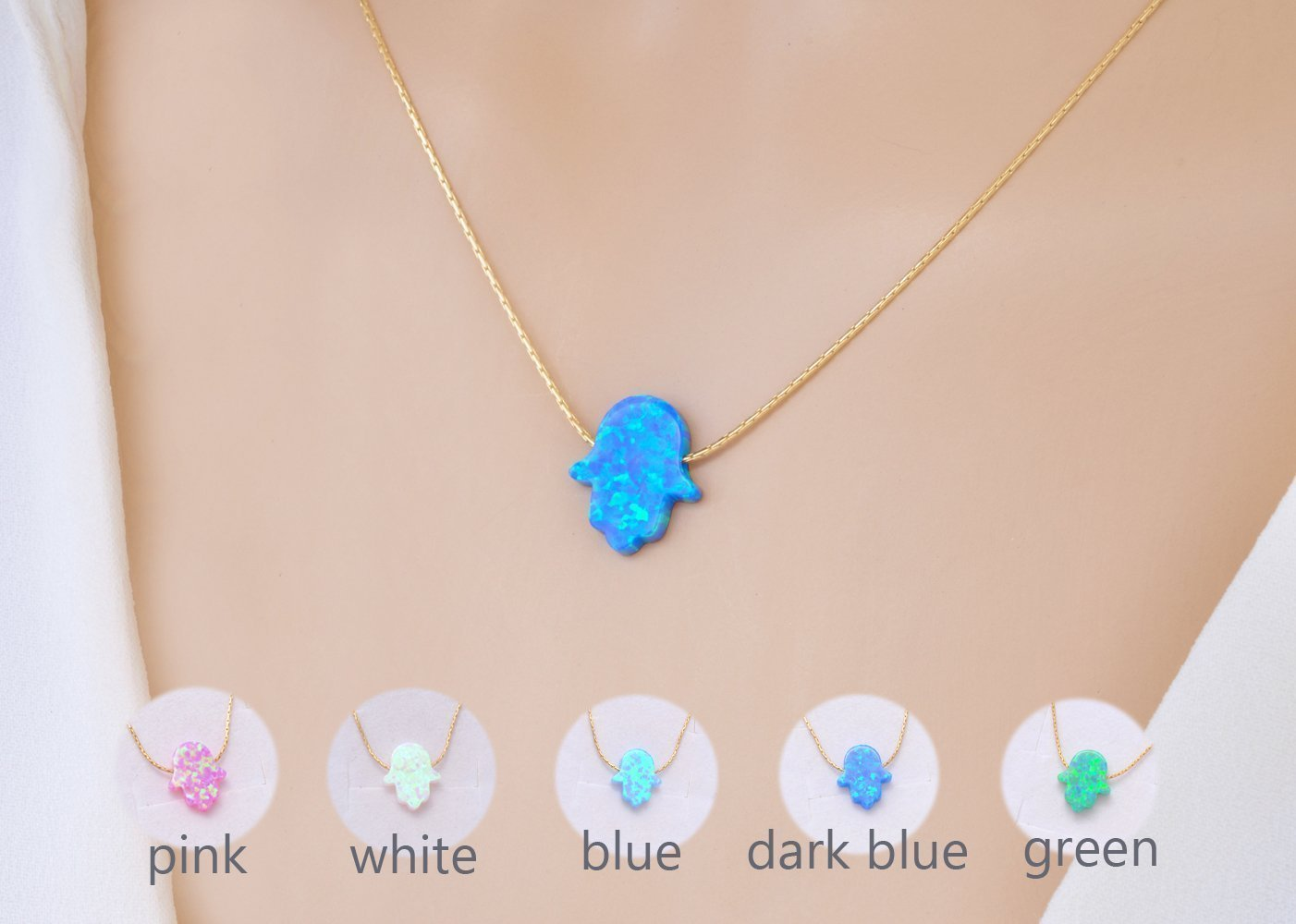 Green Opal Hamsa Hand Pendant Necklace with 14Kt Gold filled Chain