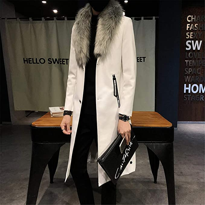 HAIGEINin Big Fur Collar Mens Faux Leather Trench Coats Overcoats Luxury Gold Long Coats Slim Fit at Amazon Mens Clothing store:
