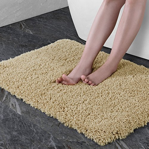 "61jFWTz1v0L - Norcho 31"" x 19"" Soft Shaggy Bath Mat Non-slip Rubber Bath Rug Luxury Microfiber Bathroom Floor Mats Water Absorbent Khaki"