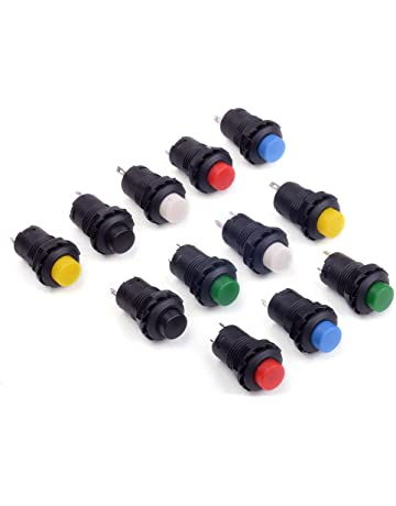 5pcs 12-24V Black Plastic Motorcycle Push Button Engine Start Switch for WH110T-2