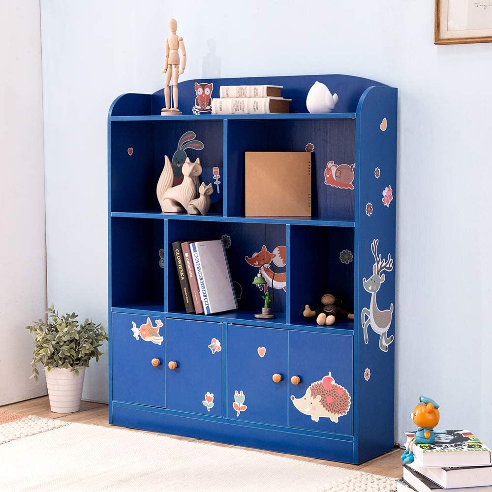 Emall Life Kids Large Bookcase with DIY Sticker Book and Toy Storage Organizer Bookshelf with 4 Layers and Doors for Girls Boys Bedroom (Blue)