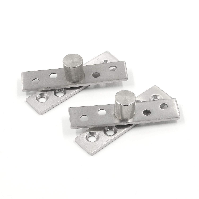 Tulead Stainless Steel Door Pivot Hinges Furniture Hardware Rotating Hinge Bookshelf Pivot Hinge 2.9x0.7 Pack of 2 with Mounting Screws