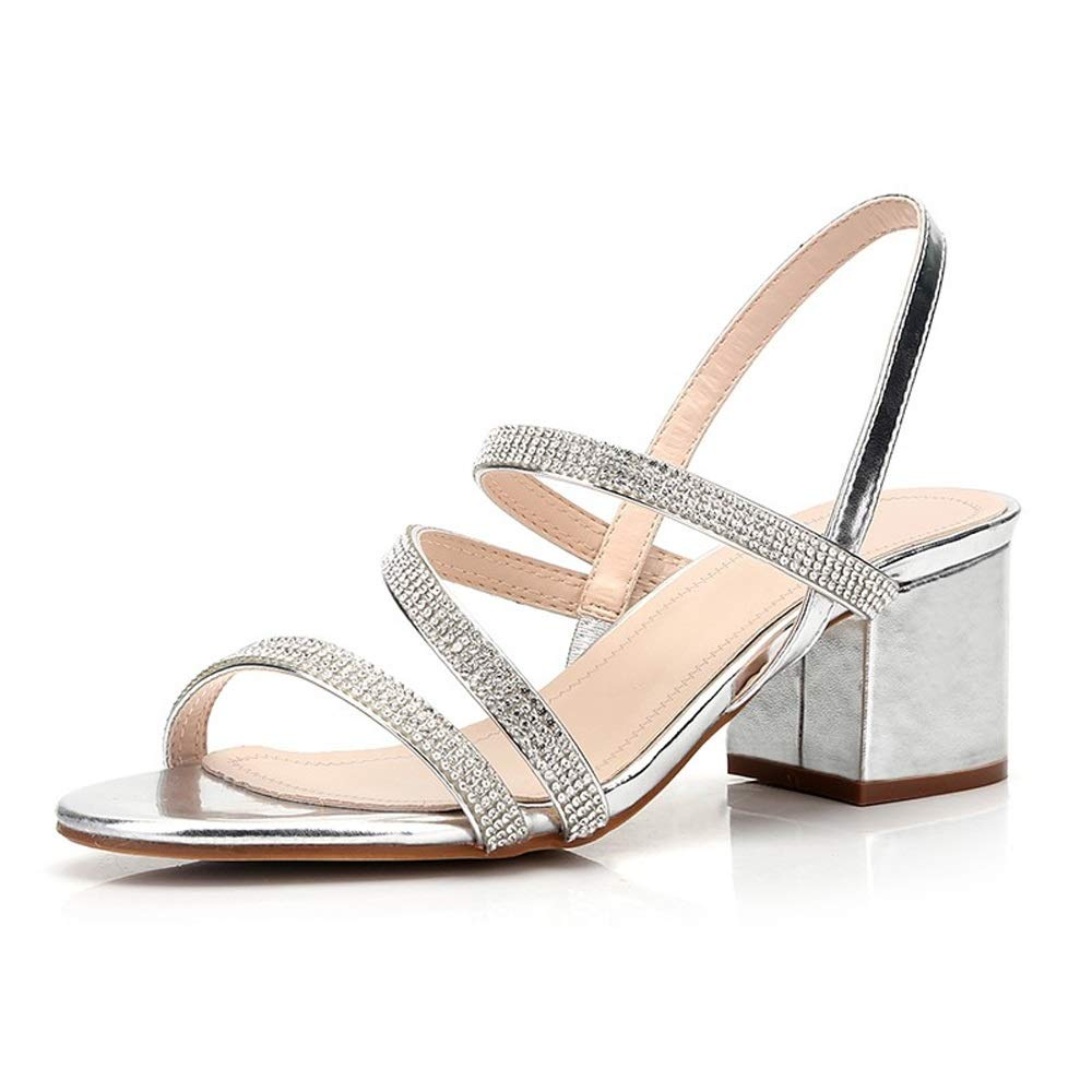 2019 Sexy Rome Sandals European and American Fashion Style Women High Square Heels Rhinestone Summer Women Sandals Sip On Cross Tied Female Sandals Shoes S83 (Size : 38)