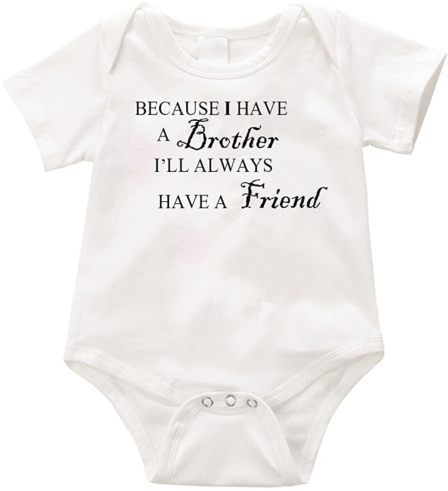 12 months, White VRW Because I have a brother Ill always have a friend unisex baby Onesie Romper