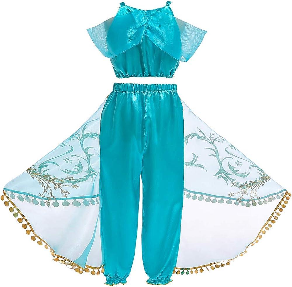 Soyoekbt Girls Princess Jasmine Costume Halloween Party Dress for Kids