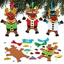 Baker Ross AT183 Kits Decoración Jersey Navideño Reno para Manualidades y Decoraciones Navideñas, Pack de 6