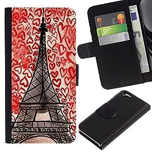WINCASE (No Para IPHONE 6 PLUS) Cuadro Funda Voltear Cuero Ranura Tarjetas TPU Carcasas Protectora Cover Case Para Apple Iphone 6 - Corazones aman París Francia dibujo de tiza