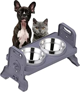 Height-Adjustable Cat Bowl,Raised Cat Food Bowls Anti Vomiting,Tilted Elevated Cat Bowl,Stainless Steel Pet Food Bowl for Flat-Faced Cats,Small Dogs,Protect Pet's Spine,Dishwasher Safe