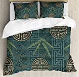 Ambesonne Bamboo Duvet Cover Set King Size, Authentic Asian Style Composition with Oriental Motifs Leaves Eastern Elements, Decorative 3 Piece Bedding Set with 2 Pillow Shams, Teal Ivory Tan