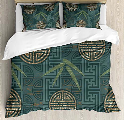 Ambesonne Bamboo Duvet Cover Set Queen Size, Authentic Asian Style Composition with Oriental Motifs Leaves Eastern Elements, Decorative 3 Piece Bedding Set with 2 Pillow Shams, Teal Ivory Tan - Asian Queen Size Bed