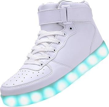AGRASS – Zapatillas de deporte unisex, 7 modos de color, luz LED intermitente con carga USB, zapatillas running, walking, blanco - Blanc 1, EU41: Amazon.es: ...