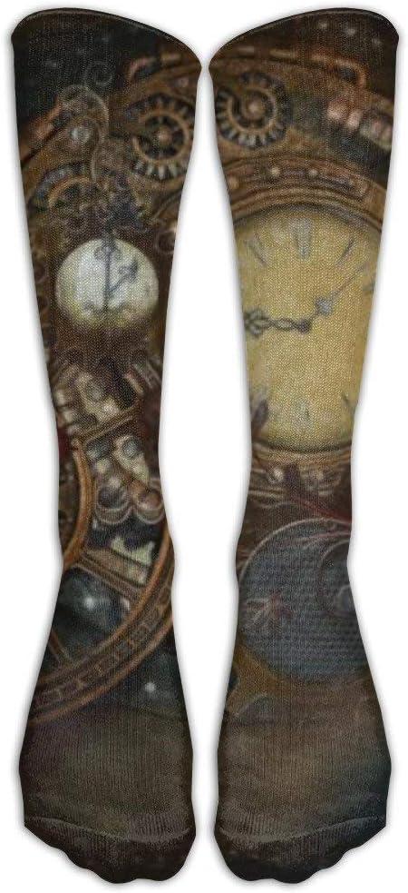FUNINDIY Socks Steampunk Clocks Unisex Outdoor Adult Sport Over-The-Calf High Socks