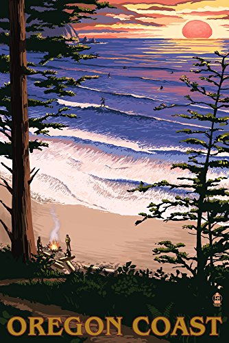 Oregon Coast Sunset Surfers (9x12 Art Print, Wall Decor Travel Poster)  wall art set of 9 | Contemporary Metal Wall Art – Set of 9 Made out of Aluminum 61jFaAtsFyL