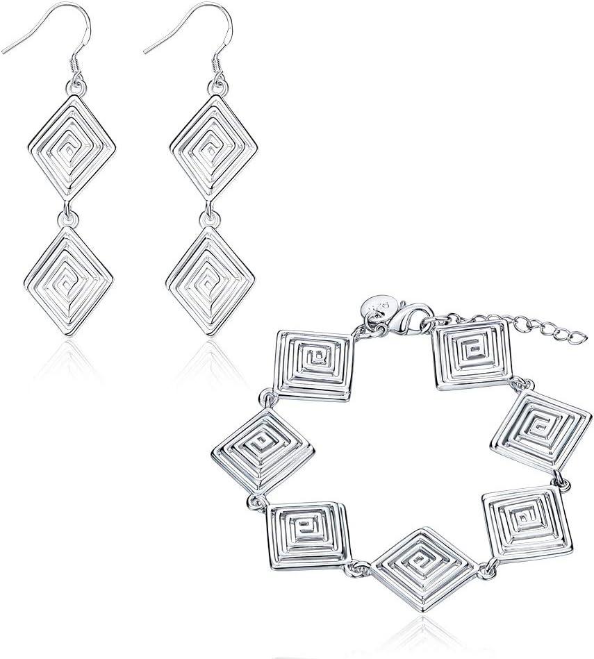 Good dress Juego de Pulseras Cuadradas de Cobre Pop para Mujer Juego de Pulseras para Conjunto de Diamantes con Hilo Pasante, Plata